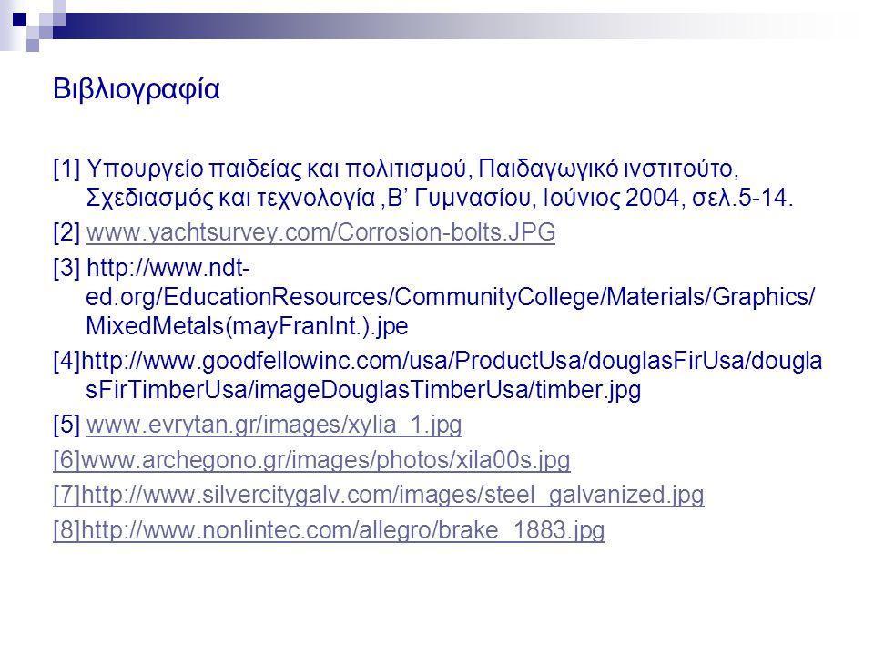 Βιβλιογραφία [1] Υπουργείο παιδείας και πολιτισμού, Παιδαγωγικό ινστιτούτο, Σχεδιασμός και τεχνολογία ,Β' Γυμνασίου, Ιούνιος 2004, σελ.5-14.